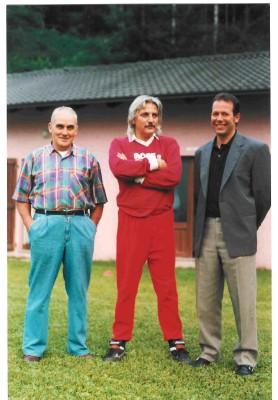 Estate 1997: Armando Calliari con Luciano Gabrielli (primo mister post-fusione) e Roberto Filippi
