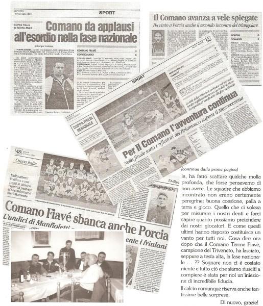 Ricordi dell'avventura nazionale del 2000/01