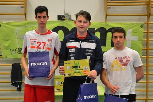 Gli Mvp del torneo: al centro Gabriele Faifer con Stefano Dell'Osso a sinistra e Leonardo Carraro a destra