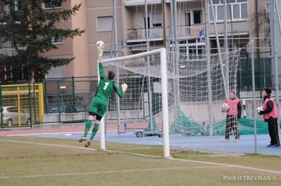 Nel derby contro l'Alense il portiere Massimo Todesco ha collezionato la seconda presenza della sua carriera nel campionato di Eccellenza (Foto di Paolo Trevisan)