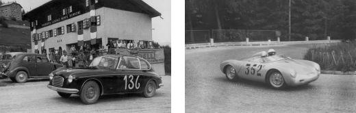 Una Zagato iscritta all'edizione del 1950 e una Porsche in azione nel 1958