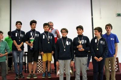 """le prime due squadre della categoria """"scuole medie, dama italiana"""""""