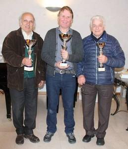 Il podio del campionato provinciale di dama italiana
