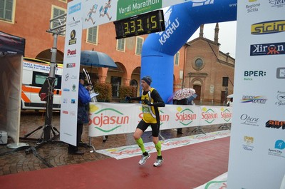Stefano Detassis all'arrivo della sua prima maratona