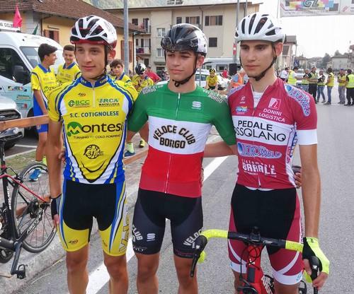 Il podio degli Esordienti 2° anno con Capra, Dapporto e Porcelli