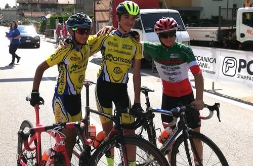 Il podio della corsa Esordienti 1° anno vinta da Sangiorgi