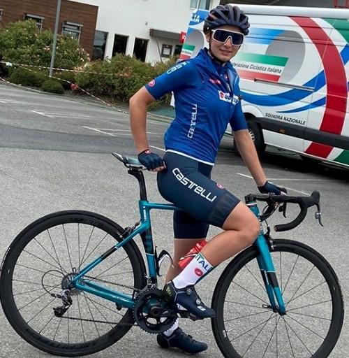 Letizia Borghesi in maglia azzurra a Plouay