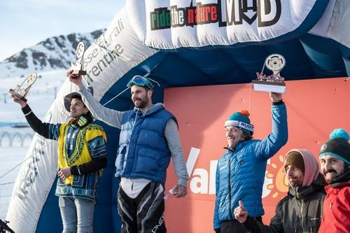 Il podio della Winter Downhill con Fruet sulla destra