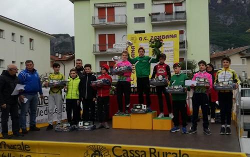 Il podio della corsa Esordienti primo anno, con Elia Andreaus sul terzo gradino