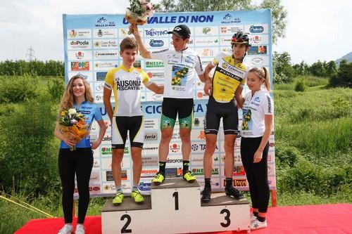Il podio del Trofeo Renetta Canada Melinda: da sinistra Polo, Tolio e Zambanini