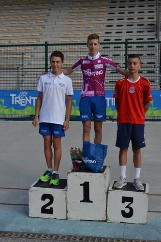 Il podio della corsa a punti Esordienti con Lorenzo Cazzaniga sul gradino più alto