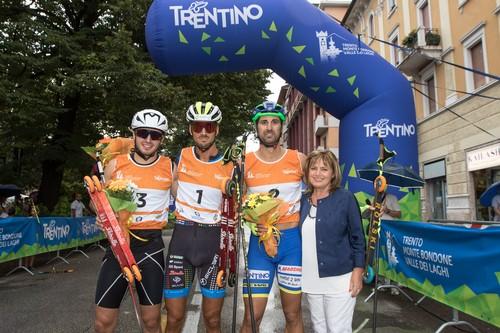 Il podio maschile della sprint di Trento