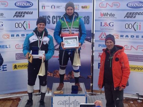 Martin Nardelli sul podio di Passo San Pellegrino