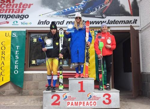 Il podio dello slalom Fis di Pampeago