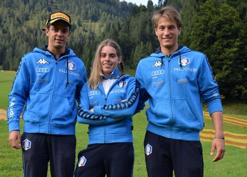 Gli azzurri Daniele Buio, Ambra Gasperi e Filippo Zamboni