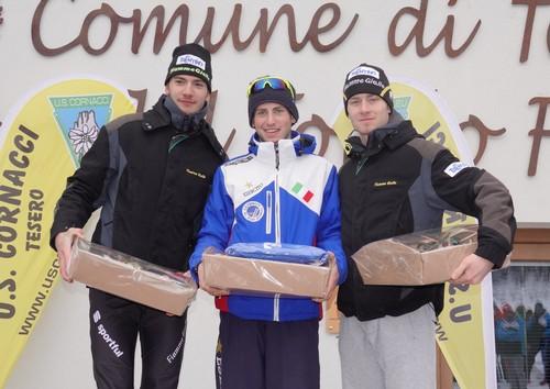 Il podio della junior maschile a Lago di Tesero