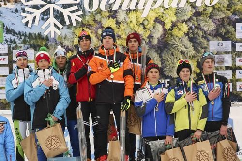 Il podio della staffetta allievi ai tricolori di Schilpario