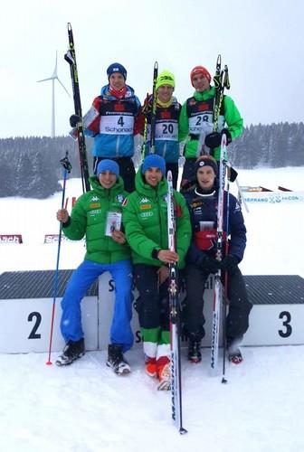 Il podio di Schonach con i due azzurri