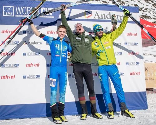 Il podio della vertical race (foto Ismf)