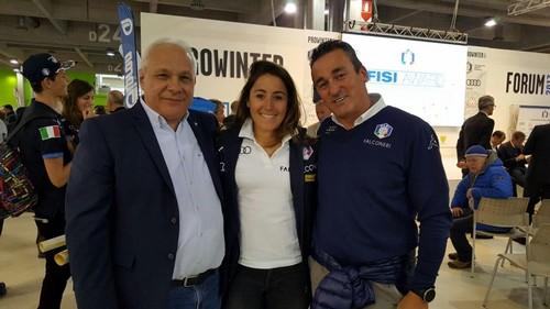 Angelo Dalpez con Sofia Goggia e Matteo Guadagnini