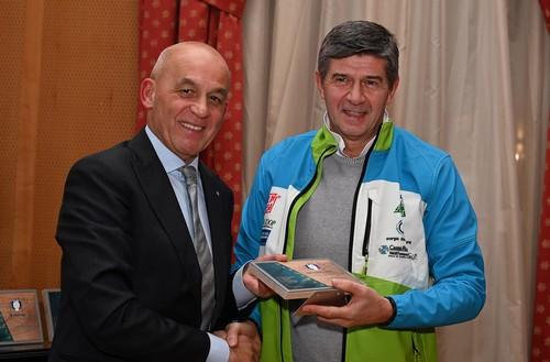 Il presidente del Fassa Leonardo Bernard con Mellarini