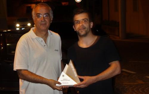 Stefano Tita, miglior portiere C1, premiato da Marco Rinaldi