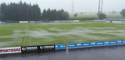 """Lo Stadio """"Grilli"""" allagato dopo le piogge di oggi"""