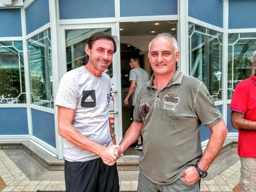 Il mister nerazzurro Carmine Gautieri con il Presidente del Consorzio turistico Massimo Valenti