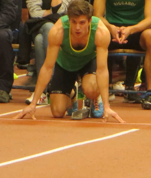 Enrico Cavagna alla partenza dei 60m