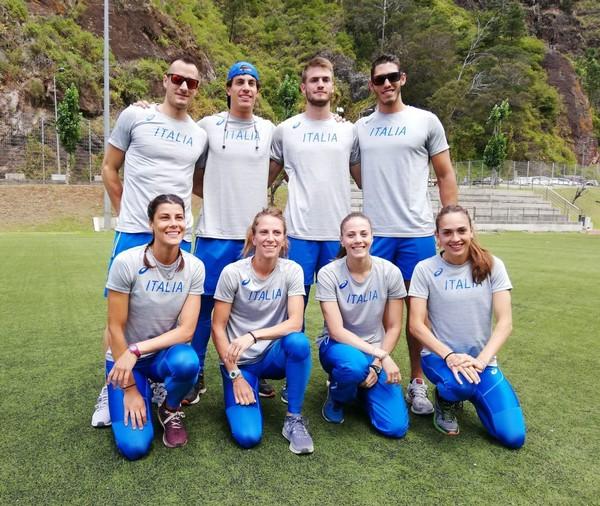 Foto di gruppo della squadra italiana, con Lorenzo Naidon, impegnata in Coppa Europa di prove multiple