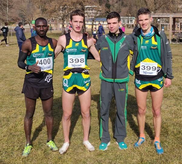 La squadra maschile al cross di Levico: Toure, Bonan, Anesi M., Franceschini E.