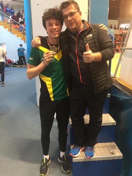 Simone Fedel con il tecnico Alberto Faifer