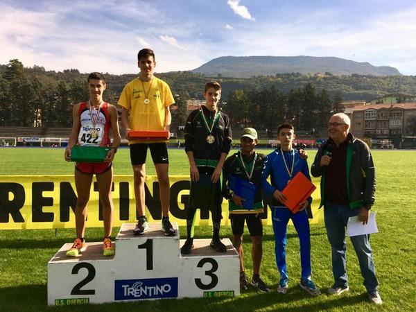 Podio della gara Cadetti con Pietro Carpentari (primo), Simone Valduga (terzo), Yannick Cappelletti (quarto)