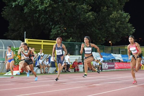 English Gardner lanciata verso il record del Palio dei 100m  (foto Marco Volcan)
