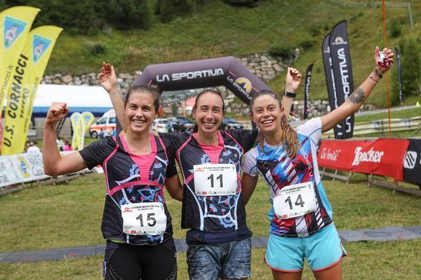 Il podio della gara femminile: Gaggi 1ª, Cumerlato 2ª, Bilora 3ª