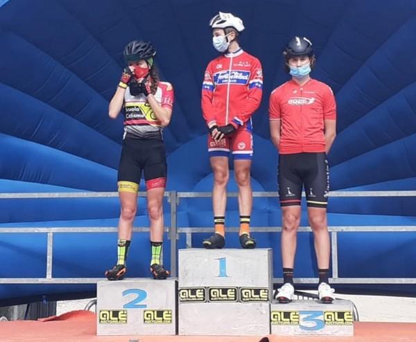Il podio della corsa Esordienti 1° anno vinta da Fedrizzi