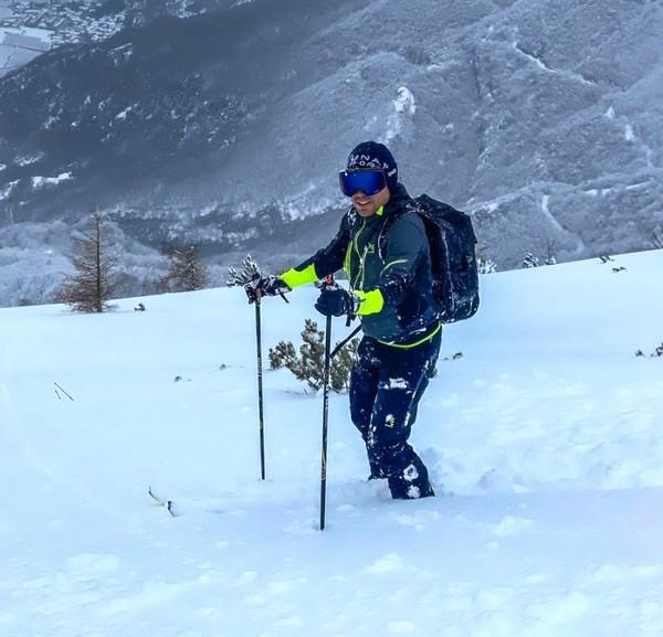 Cesare Benedetti alle prese con lo sci alpinismo