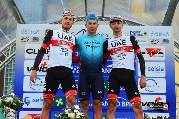 Il podio della Coppa Agostoni (foto Uae Emirates)