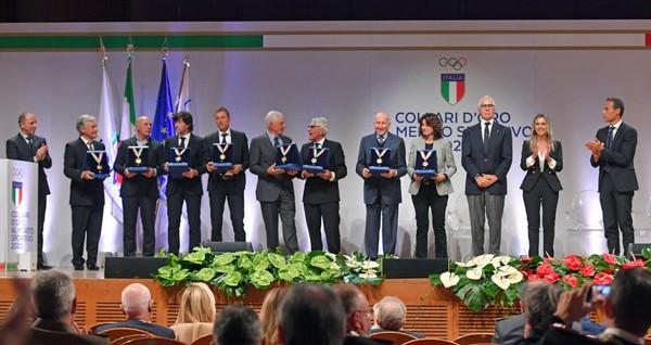 I premiati del ciclismo (foto Simone Ferraro/Coni)