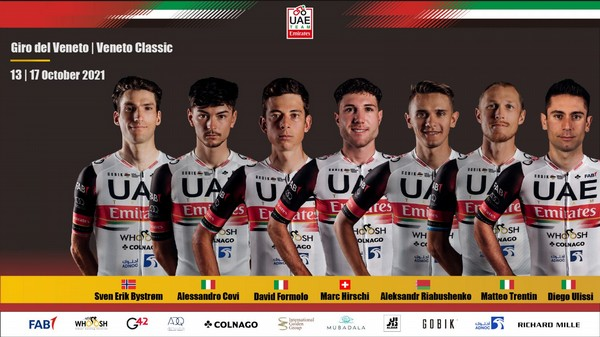 La squadra del team Uae Emirates per le due corse venete