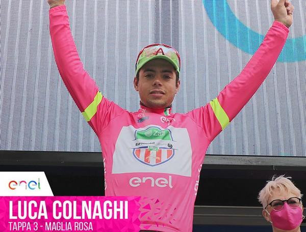 Luca Colnaghi in maglia rosa al Giro Under 23