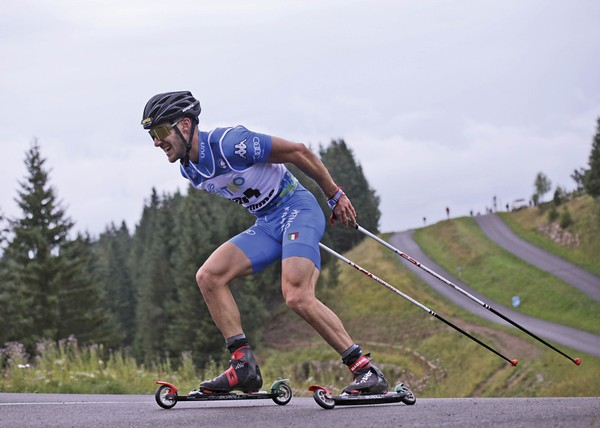 Matteo Tanel in gara a Passo Lavazè (foto Newspower)