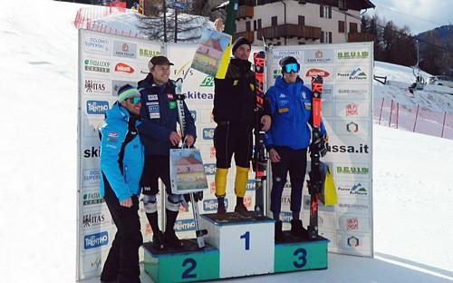 Il podio assoluto nello slalom di Pozza