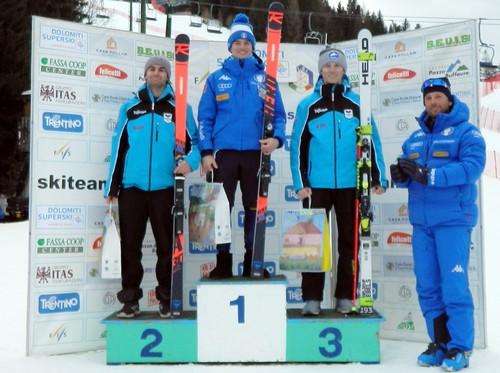 Il podio assoluto giovani con Gasparini secondo (1° Gpi) e Seppi terzo