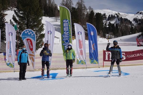 Il podio dello slalom allievi di Pampeago