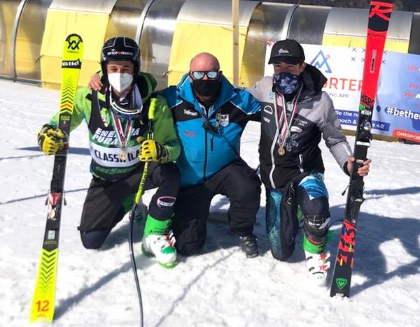 Sebastiano Zorzi con Amedeo Malossini e il tecnico Fisi Michele Bertoldi