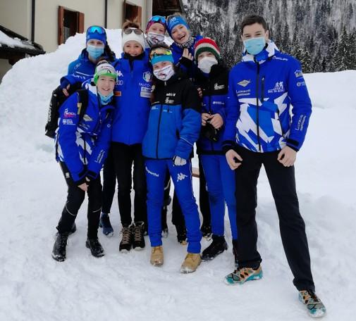 Una rappresentativa della Val di Sole ai tricolori biathlon