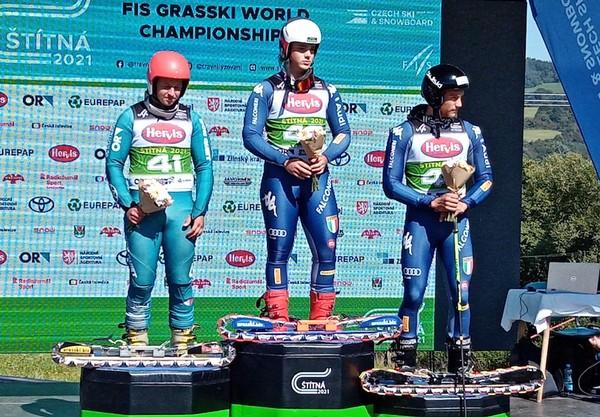 Il podio superG con Andrea Iori primo e Filippo Zamboni terzo