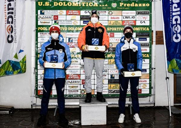 Il podio dei tricolori under 16 di combinata: 1° Senoner, 2° Libener, 3° Venturini (foto Luca Pradac)