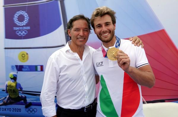 Ruggero Tita con il suo allenatore di sci alpino Pino Pasquali